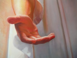 Mormon Christ's hand, come unto me