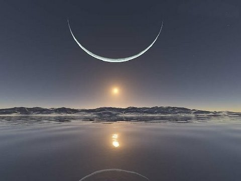 A photo of the sunset at the North Pole.